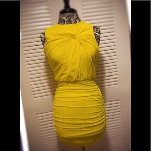 Bright yellow fitted dress